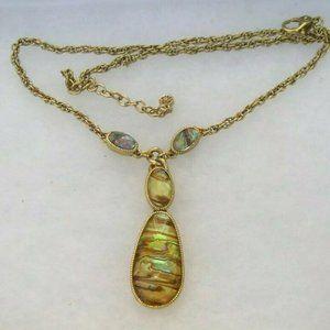 Vintage Monet Gold Tone Necklace Lucite Abalone